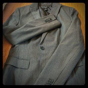 Ann Taylor Gray Pinstripe Blazer/Suit Coat